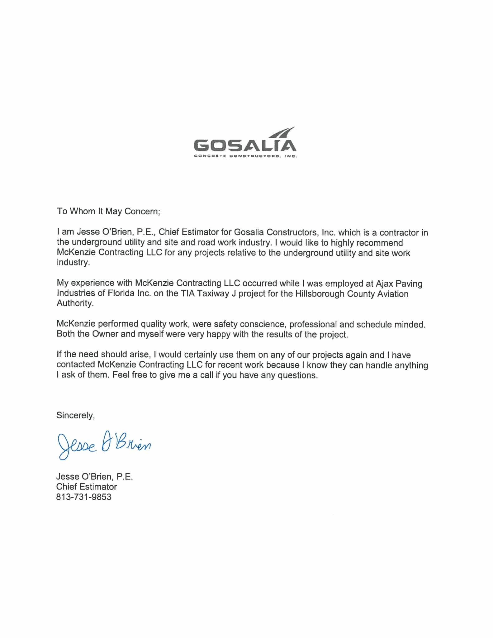 Gosalia Concrete Construction Letter of Recommendation