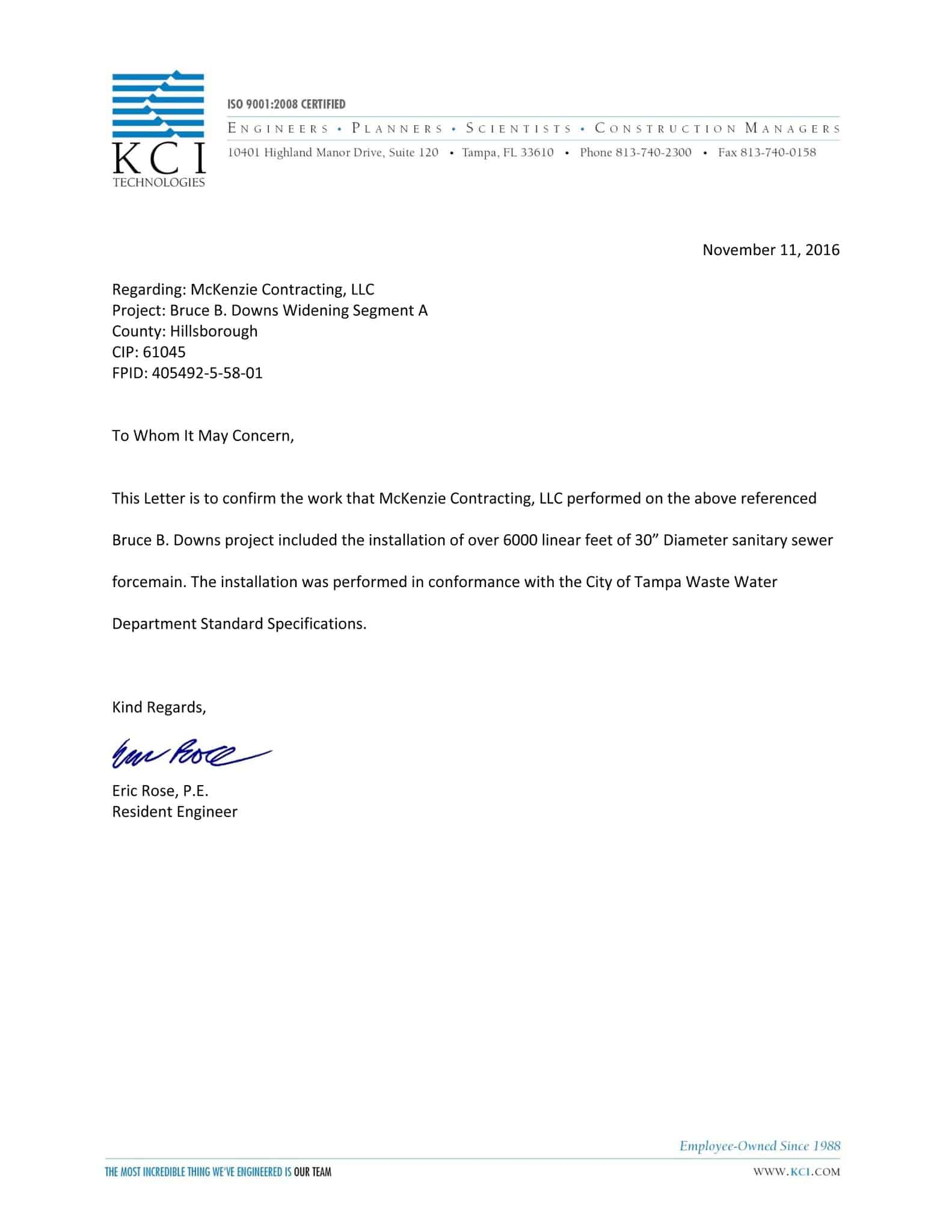 KCI Technologies Letter of Recommendation for McKenzie Contracting
